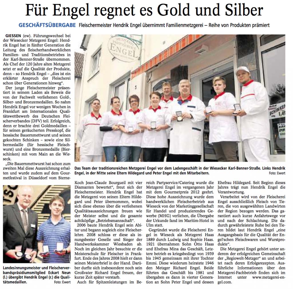 Zeitungsartikel - Metzgerei Engel - Gießener Anzeiger vom 22. Mai 2013